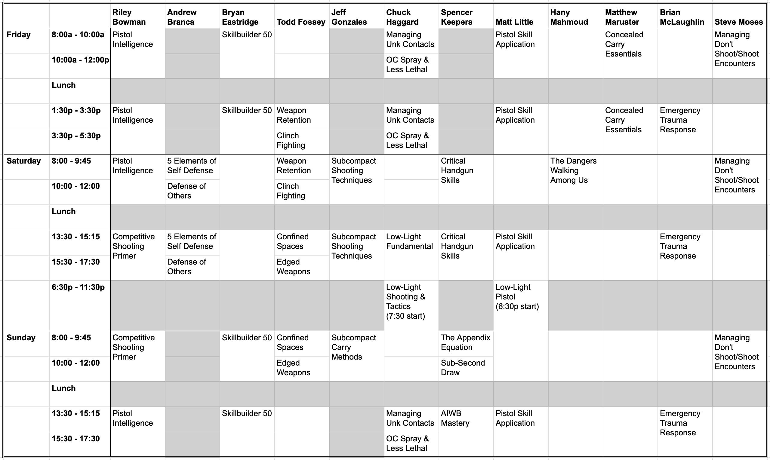 2021 Class Schedule Matrix